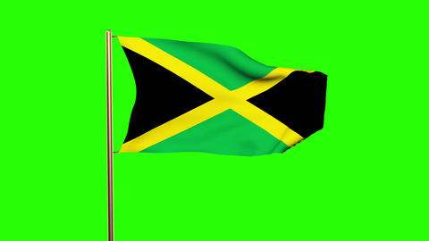 Jamaica flag waving in the wind. Green screen, alpha matte. Loopable animation Animation