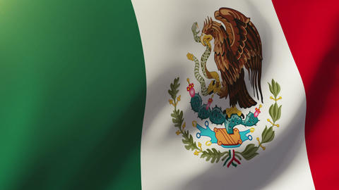 Mexico flag waving in the wind. Looping sun rises style. Animation loop Animation