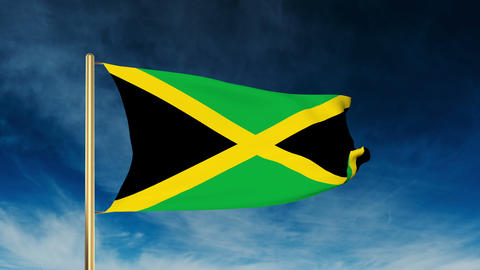 Jamaica flag slider style. Waving in the win with cloud background animation Animation