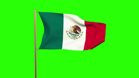 Mexico flag waving in the wind. Green screen, alpha matte. Loopable animation Animation