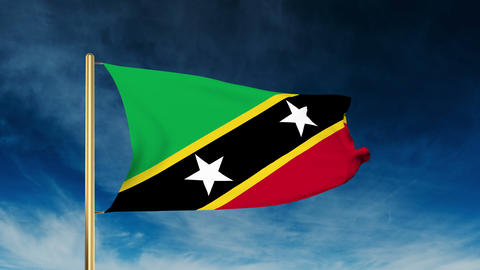 Saint Kitts And Nevis flag slider style. Waving in the win with cloud background Animation