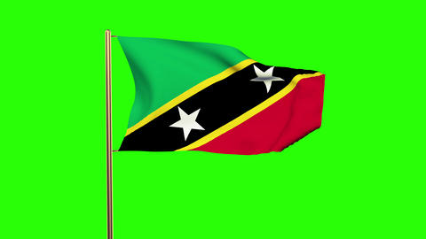 Saint Kitts And Nevis flag waving in the wind. Green screen, alpha matte. Loopab Animation
