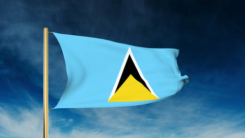 Saint Lucia flag slider style. Waving in the win with cloud background animation Animation