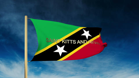 Saint Kitts And Nevis flag slider style with title. Waving in the wind with clou Animation