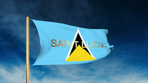 Saint Lucia flag slider style with title. Waving in the wind with cloud backgrou Animation