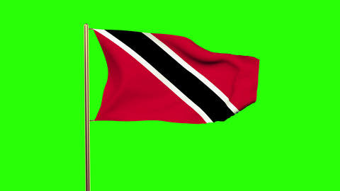 Trinidad and Tobago flag waving in the wind. Green screen, alpha matte. Loopable Animation