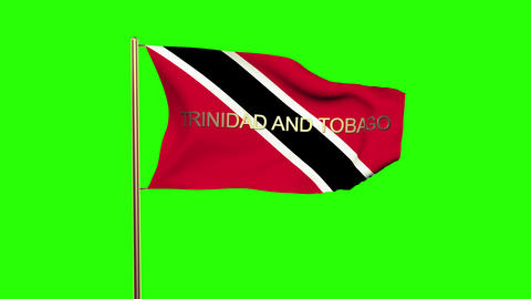 Trinidad and Tobago flag with title waving in the wind. Looping sun rises style. Animation