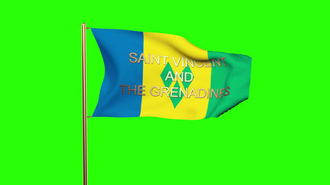 Saint Vincent and the Grenadines flag with title waving in the wind. Looping sun Animation