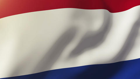 Netherlands flag waving in the wind. Looping sun rises style. Animation loop Animation