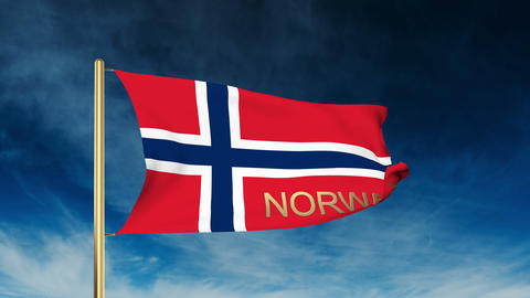 Norway flag slider style with title. Waving in the wind with cloud background an Animation