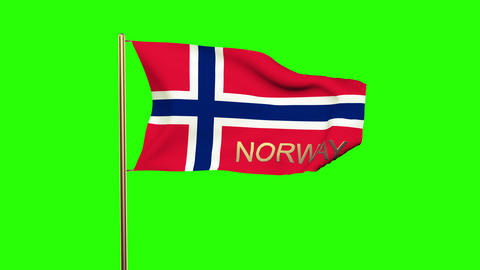 Norway flag with title waving in the wind. Looping sun rises style. Animation lo Animation