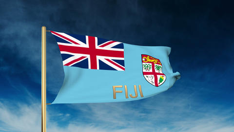 Fiji flag slider style with title. Waving in the wind with cloud background anim Animation