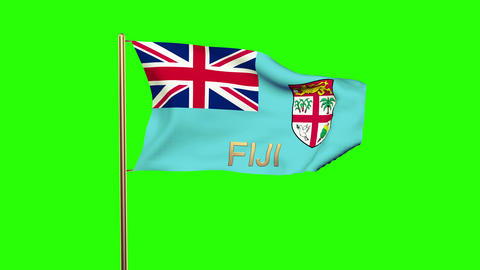 Fiji flag with title waving in the wind. Looping sun rises style. Animation loop Animation