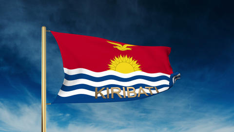 Kiribati flag slider style with title. Waving in the wind with cloud background  Animation