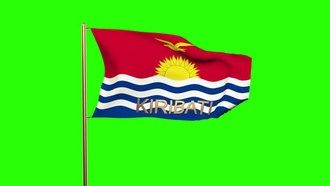 Kiribati flag with title waving in the wind. Looping sun rises style. Animation  Animation