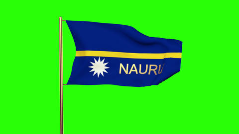 Nauru flag with title waving in the wind. Looping sun rises style. Animation loo Animation