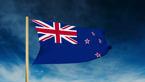 New Zealand flag slider style. Waving in the win with cloud background animation Animation