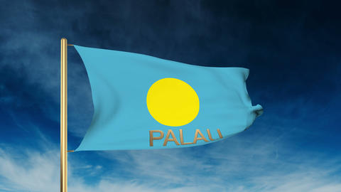 Palau flag slider style with title. Waving in the wind with cloud background ani Animation