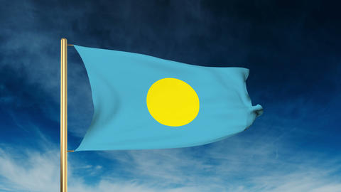 Palau flag slider style. Waving in the win with cloud background animation Animation