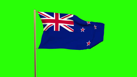 New Zealand flag waving in the wind. Green screen, alpha matte. Loopable animati Animation