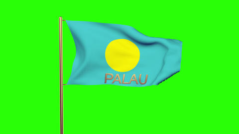 Palau flag with title waving in the wind. Looping sun rises style. Animation loo Animation