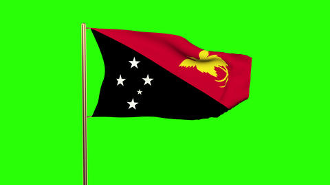 Papua New Guinea flag waving in the wind. Green screen, alpha matte. Loopable an Animation