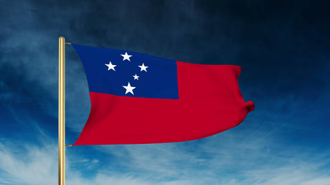 Samoa flag slider style. Waving in the win with cloud background animation Animation
