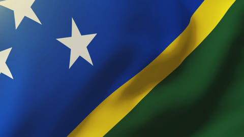 Solomon Islands flag waving in the wind. Looping sun rises style. Animation loop Animation