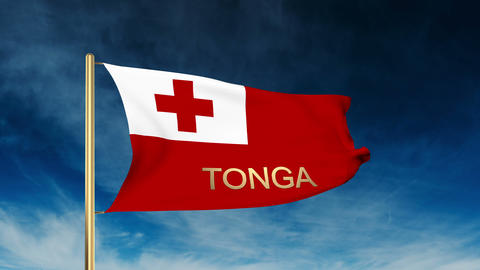Tonga flag slider style with title. Waving in the wind with cloud background ani Animation