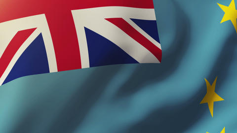 Tuvalu flag waving in the wind. Looping sun rises style. Animation loop Animation