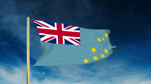 Tuvalu flag slider style. Waving in the win with cloud background animation Animation