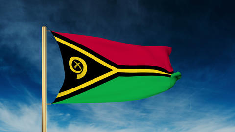 Vanuatu flag slider style. Waving in the win with cloud background animation Animation