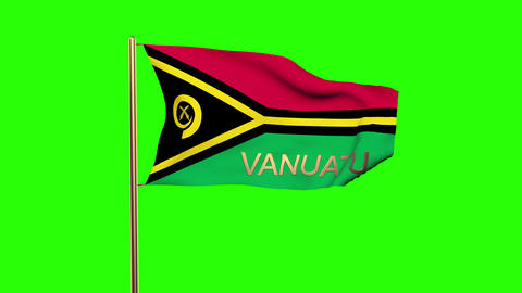 Vanuatu flag with title waving in the wind. Looping sun rises style. Animation l Animation