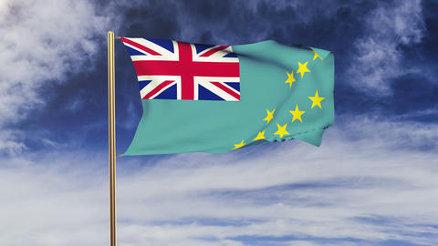 Tuvalu flag waving in the wind. Green screen, alpha matte. Loopable animation Animation