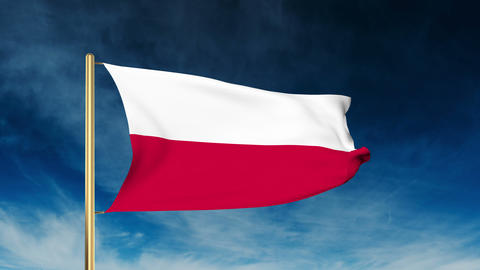 Poland flag slider style. Waving in the wind with cloud background animation Animation