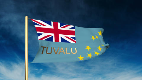 Tuvalu flag slider style with title. Waving in the wind with cloud background an Animation
