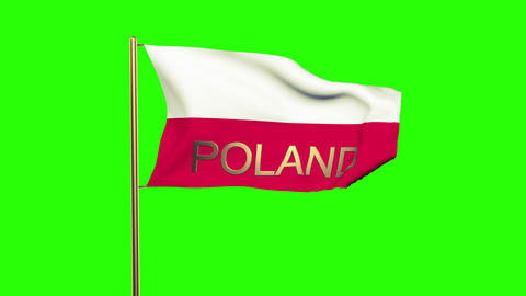 Poland flag with title waving in the wind. Looping sun rises style. Animation lo Animation
