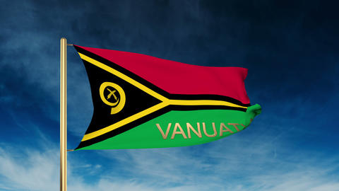 Vanuatu flag slider style with title. Waving in the wind with cloud background a Animation