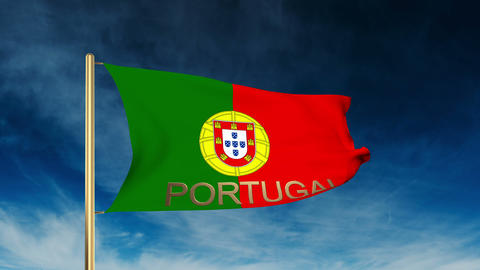 Portugal flag slider style with title. Waving in the wind with cloud background  Animation