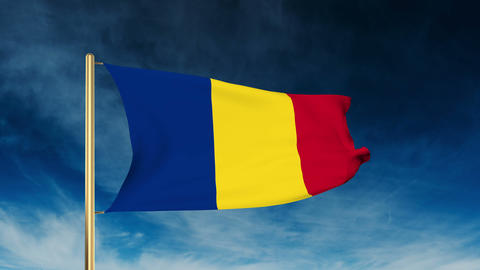 Romania flag slider style. Waving in the wind with cloud background animation Animation