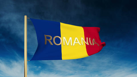 Romania flag slider style with title. Waving in the wind with cloud background a Animation
