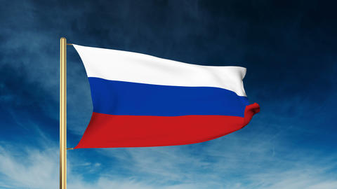 Russia Flag Slider Style. Waving In The Wind With Cloud Background Animation stock footage