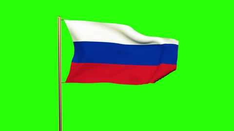 Russia Flag Waving In The Wind. Looping Sun Rises Style. Animation Loop. Green S stock footage