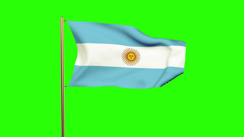 Argentina flag waving in the wind. Green screen, alpha matte. Loopable animation Animation