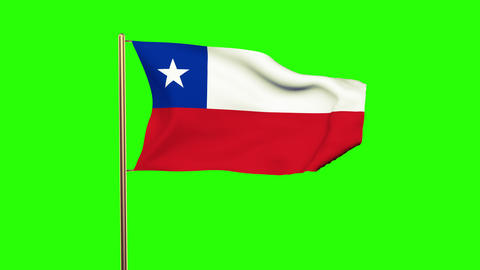 Chile flag waving in the wind. Green screen, alpha matte. Loopable animation Animation