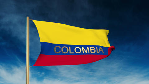Colombia flag slider style with title. Waving in the wind with cloud background  Animation