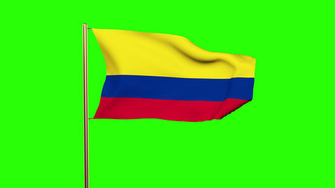 Colombia flag waving in the wind. Green screen, alpha matte. Loopable animation Animation