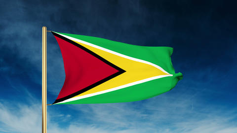 Guyana flag slider style. Waving in the win with cloud background animation Animation