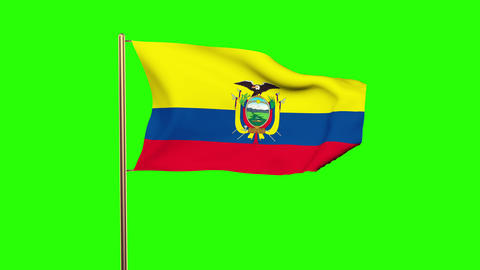 Ecuador flag waving in the wind. Green screen, alpha matte. Loopable animation Animation