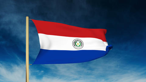 Paraguay flag slider style. Waving in the win with cloud background animation Animation